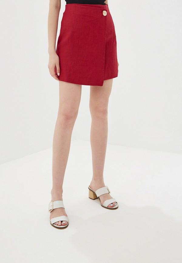 MANGO | бордовый Женская летняя бордовая юбка MANGO | Clouty