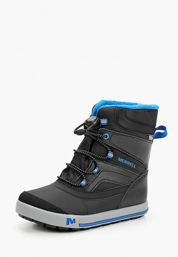 Merrell   черный Черные ботинки Merrell резина для мальчиков   Clouty