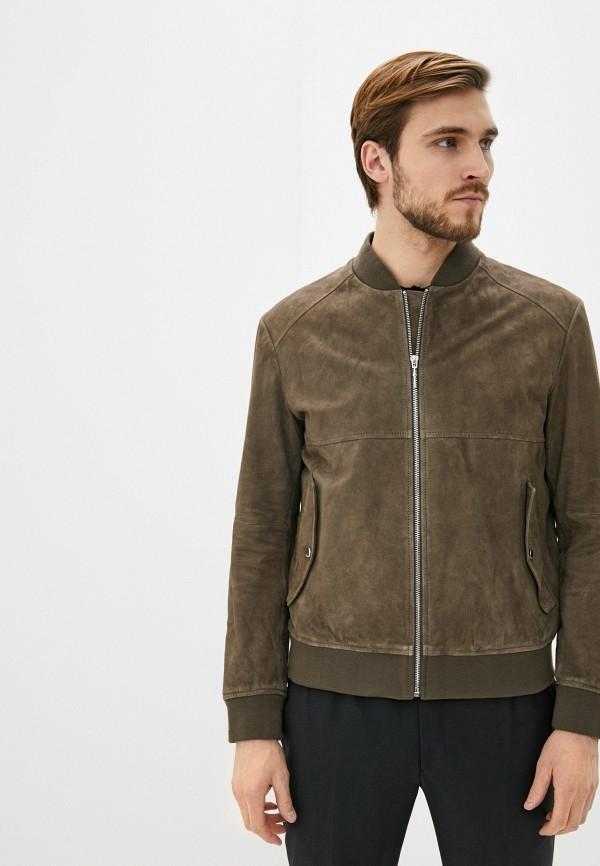 HUGO | коричневый Мужская коричневая кожаная куртка HUGO | Clouty