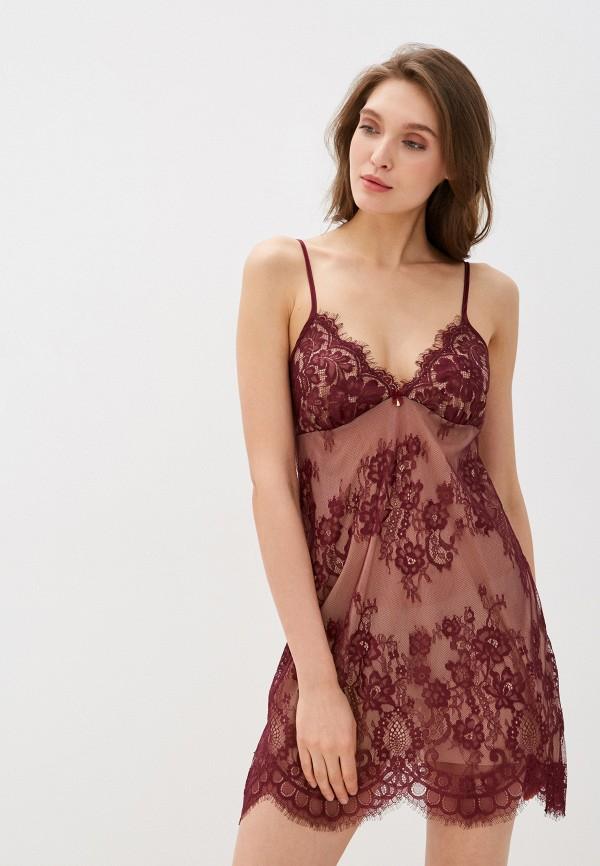 Deseo   бордовый Женская бордовая ночная сорочка Deseo   Clouty