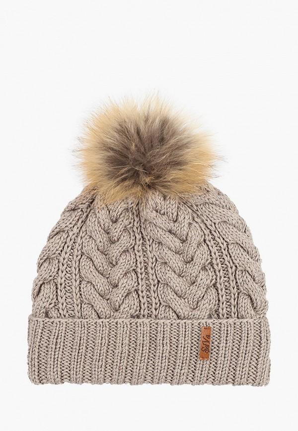 Sava Mari   бежевый Женская зимняя бежевая шапка Sava Mari   Clouty