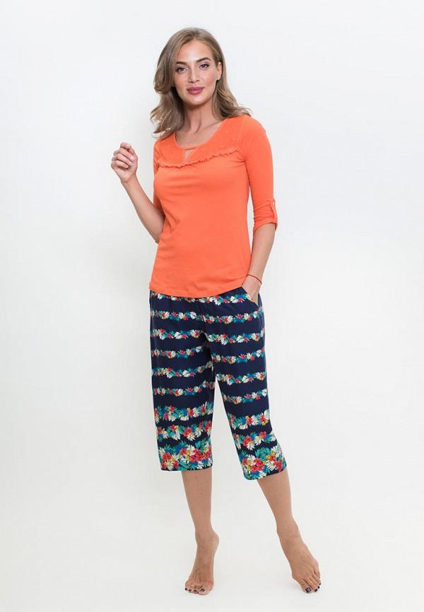 Penye Mood   оранжевый, синий Женский домашний костюм Penye Mood   Clouty