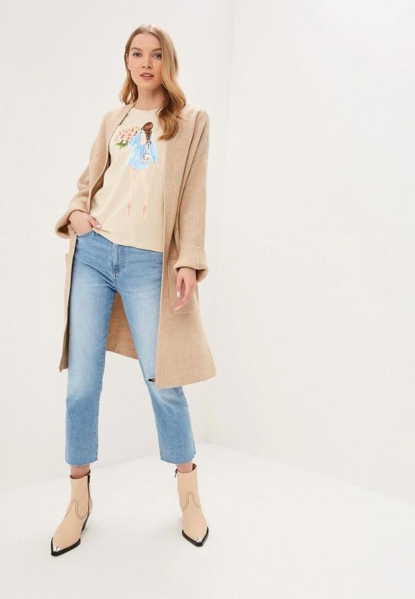 Fashion.Love.Story | бежевый Женская бежевая футболка Fashion.Love.Story | Clouty