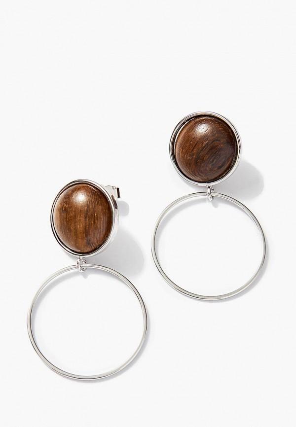 Exclaim   коричневый, серебряный Женские серьги Exclaim   Clouty