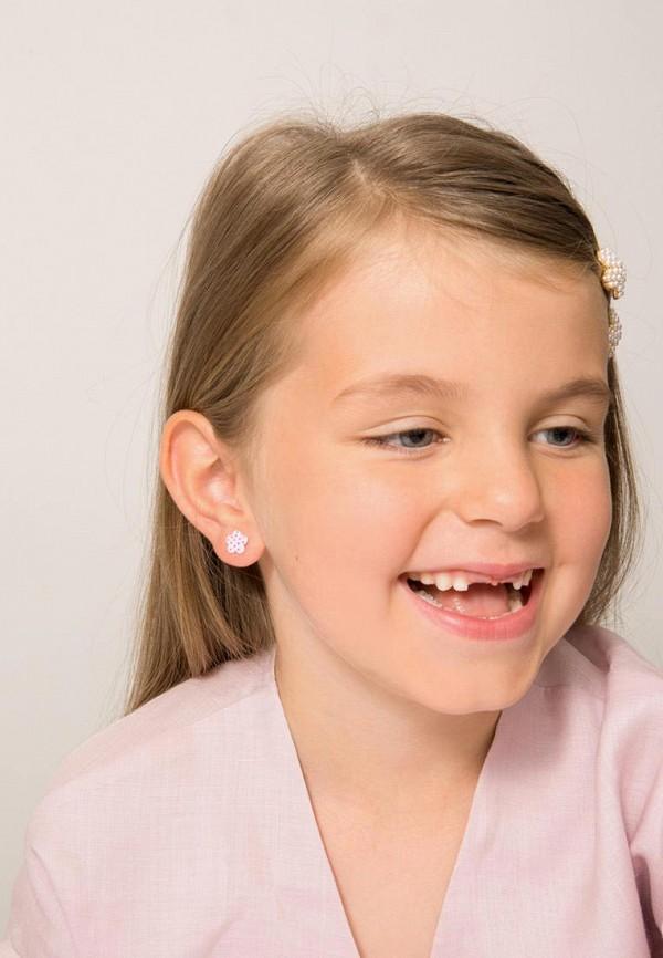 Exclaim | розовый, серебряный Серьги Exclaim для девочек | Clouty