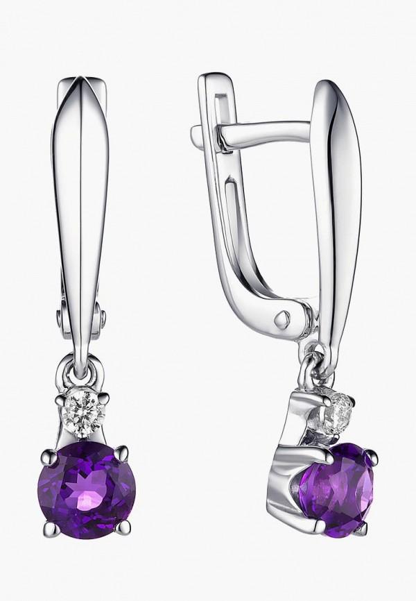 Алькор   серебряный, фиолетовый Женские серьги Алькор   Clouty