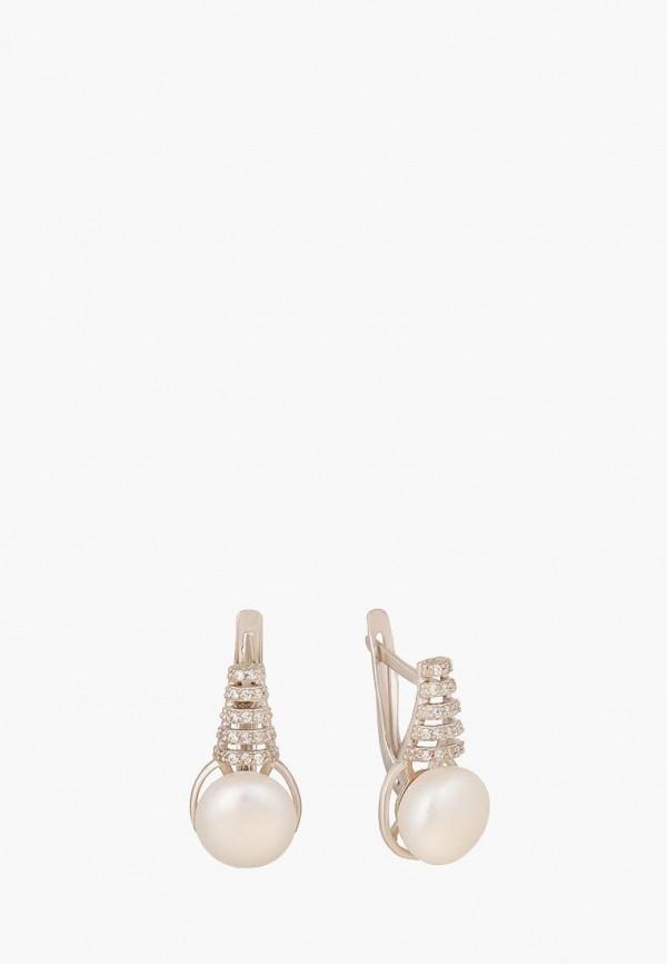 Наше Золото | белый, серебряный Женские серьги Наше Золото | Clouty