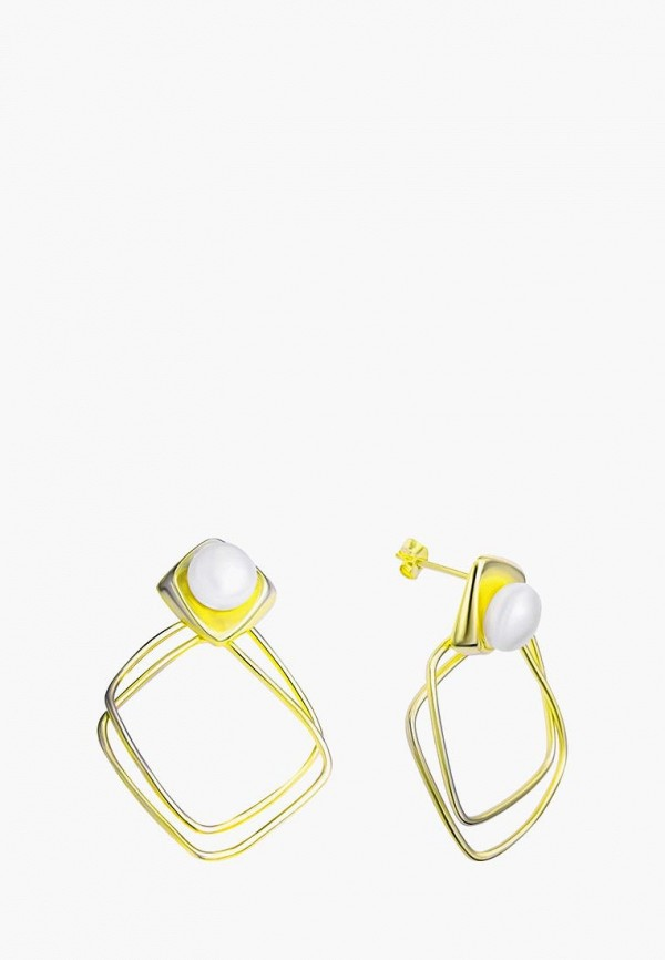 Наше Золото | белый, золотой Женские серьги Наше Золото | Clouty