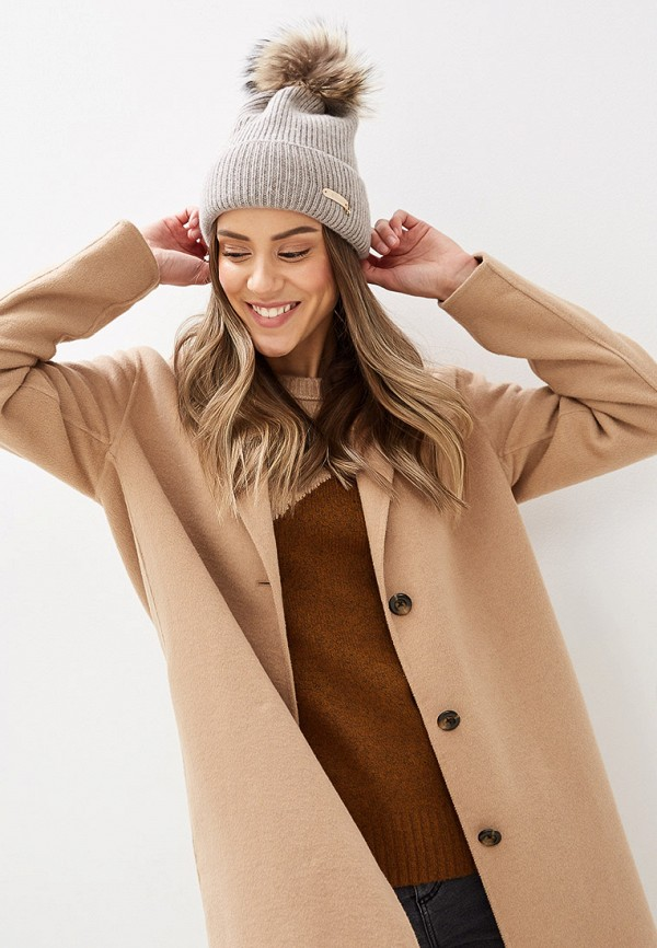 Noryalli | бежевый Женская зимняя бежевая шапка Noryalli | Clouty