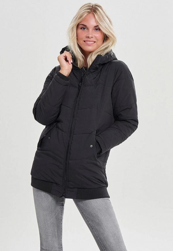 Only | черный Женская черная утепленная куртка Only | Clouty