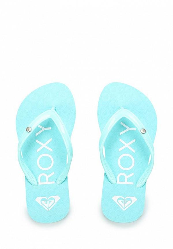 Roxy   бирюзовый Летние бирюзовые сланцы Roxy искусственный материал для девочек   Clouty