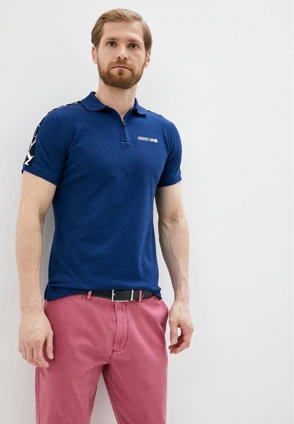 Roberto Cavalli | синий Мужское синее поло Roberto Cavalli | Clouty