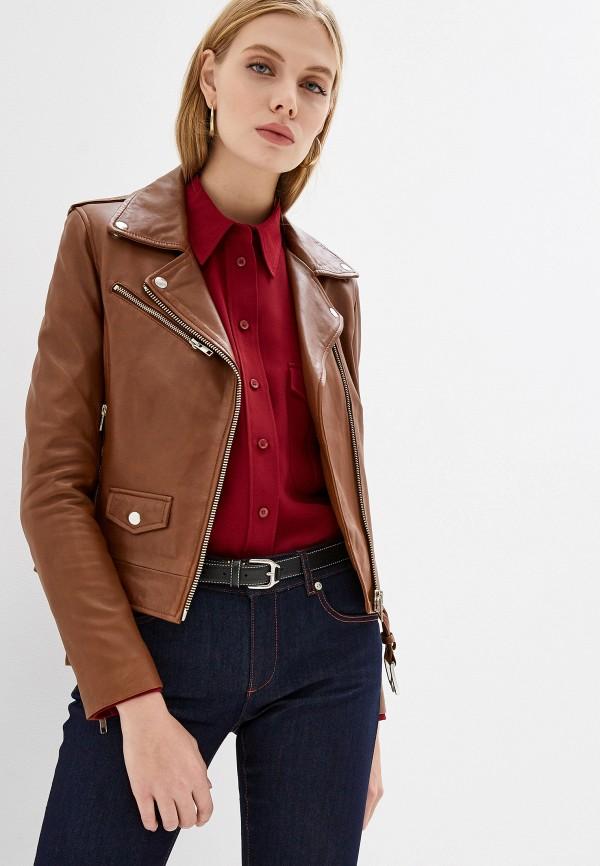 Serge Pariente | коричневый Женская коричневая кожаная куртка Serge Pariente | Clouty