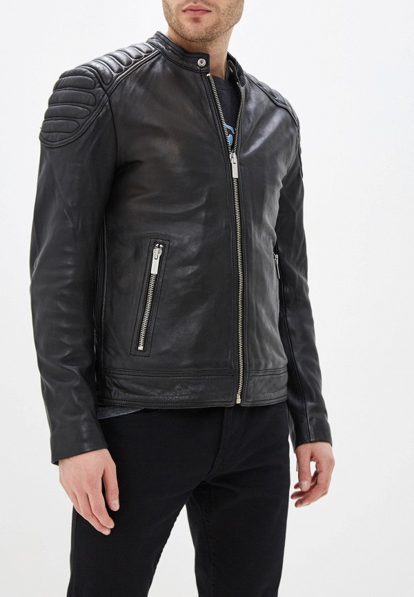 Superdry | черный Мужская черная кожаная куртка Superdry | Clouty