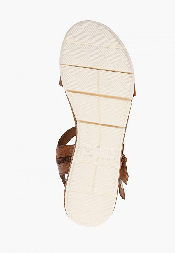 Tamaris | коричневый Летние коричневые босоножки Tamaris искусственный материал | Clouty