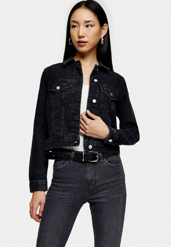 TOPSHOP | черный Женская черная джинсовая куртка TOPSHOP | Clouty
