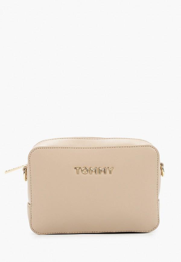 TOMMY HILFIGER   бежевый Женская бежевая сумка TOMMY HILFIGER   Clouty
