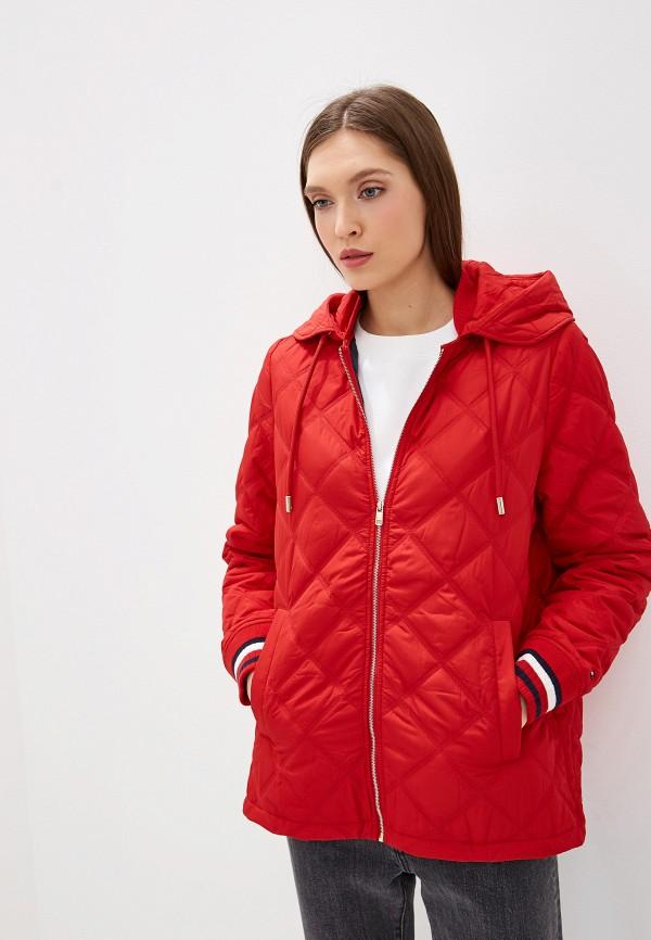 TOMMY HILFIGER | красный Женская красная утепленная куртка TOMMY HILFIGER | Clouty