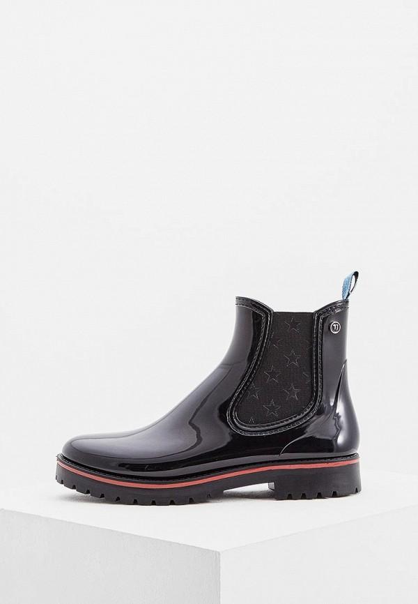 TRUSSARDI | черный Женские черные резиновые ботинки TRUSSARDI резина | Clouty