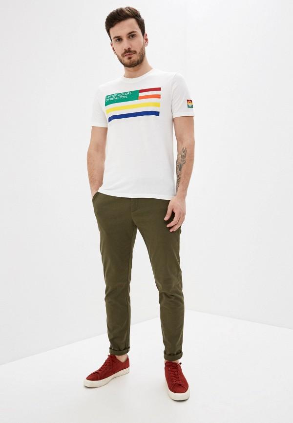 United Colors of Benetton | белый Мужская белая футболка United Colors of Benetton | Clouty