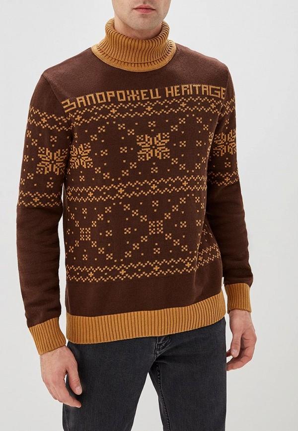 запорожец heritage | Мужской зимний коричневый свитер запорожец heritage | Clouty