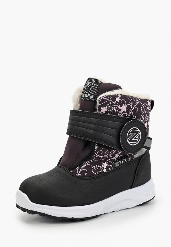 ZeBra   черный Зимние черные ботинки ZeBra резина для девочек   Clouty