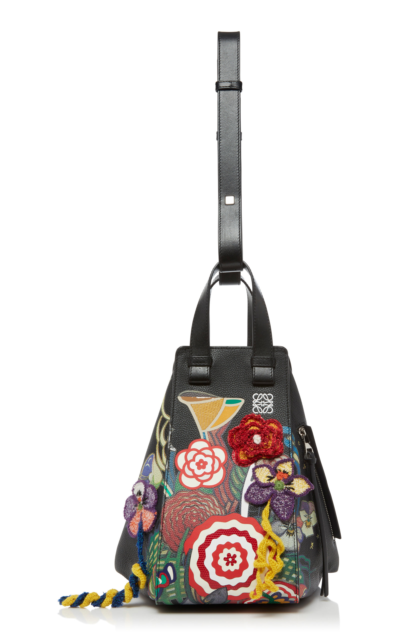 Loewe | Loewe Hammock Medium Floral-Embellished Leather Bag | Clouty