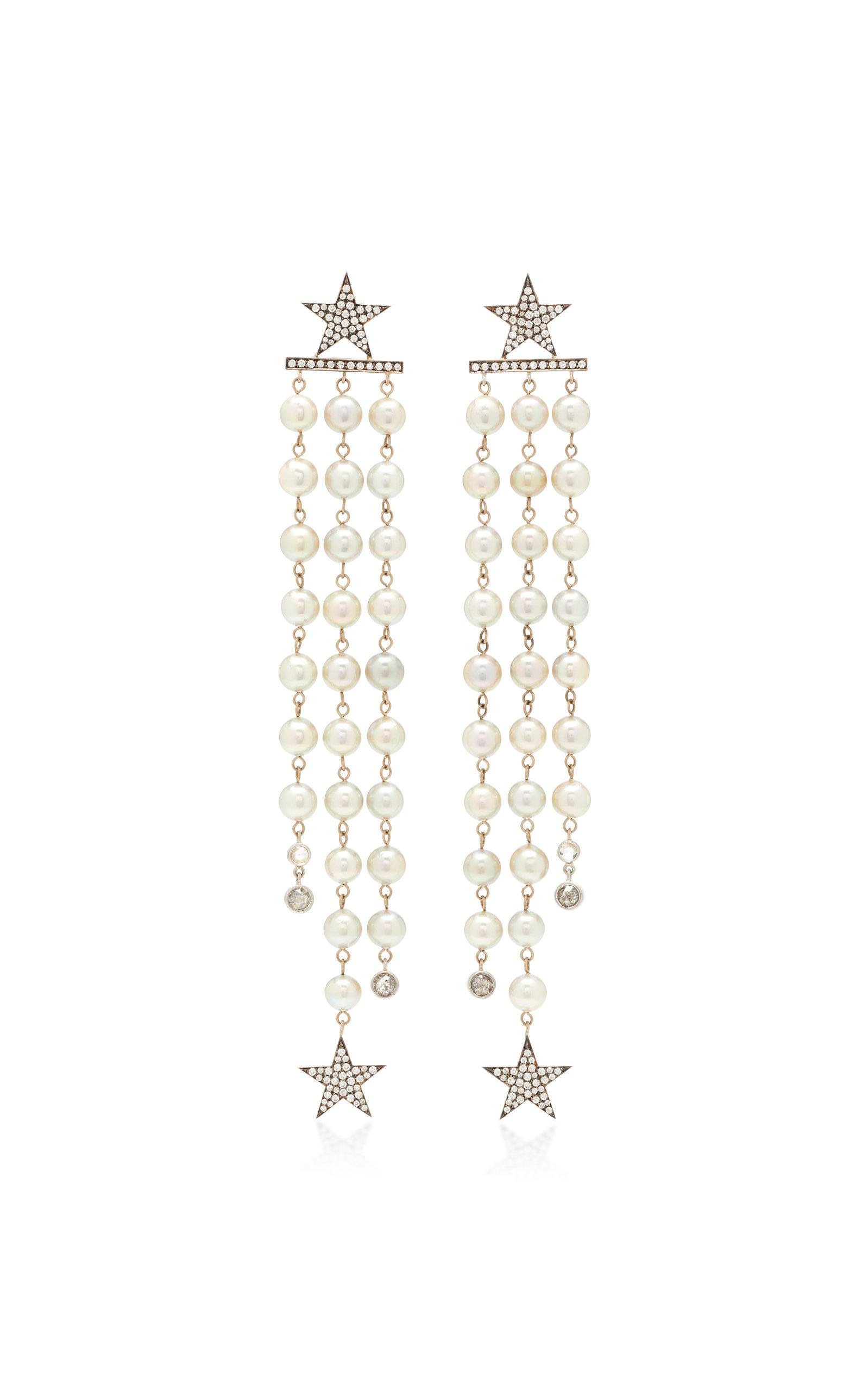 Sylva & Cie | Sylva & Cie 18K White Gold Pearl and Diamond Earrings | Clouty