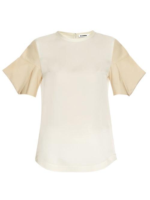 JIL SANDER | Jil Sander - Acorn Structured Sleeve Silk Satin Top - Womens - Cream | Clouty