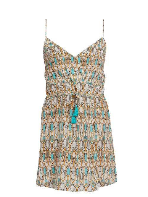 Biondi | Biondi - Mirage Silk Dress - Womens - Blue Print | Clouty