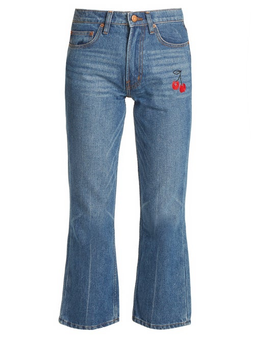 Bliss And Mischief | Bliss And Mischief - Cherry-embroidered Mid-rise Flared Cropped Jeans - Womens - Denim | Clouty