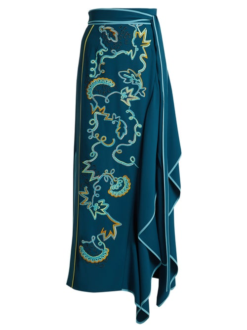 Peter Pilotto | Peter Pilotto - Embroidered Asymmetric Crepe-cady Skirt - Womens - Blue Multi | Clouty