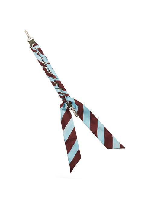 FENDI | Fendi - Strap You Mini Whipstitched Ribbon Short Bag Strap - Womens - Blue Multi | Clouty