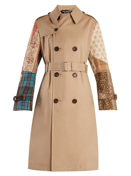 Junya Watanabe | Junya Watanabe - Contrast Sleeve Cotton Garbardine Trench Coat - Womens - Beige Multi | Clouty