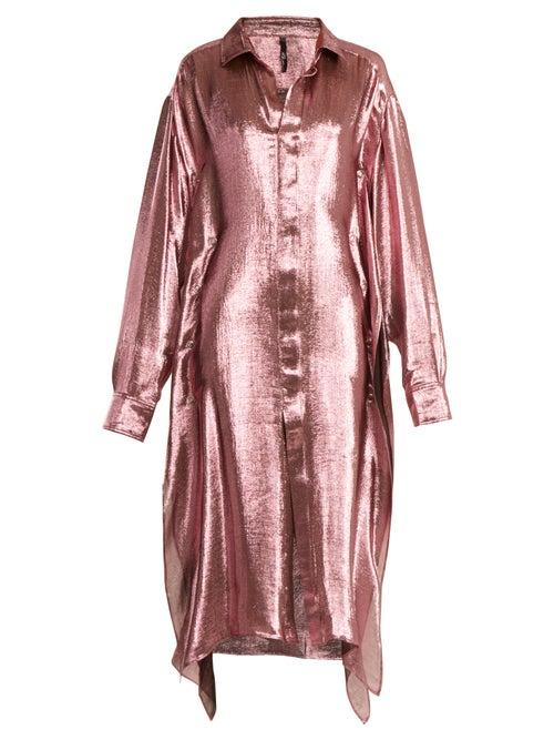 Paula Knorr | Paula Knorr - Big Long Sleeved Silk Blend Lame Shirt - Womens - Pink | Clouty