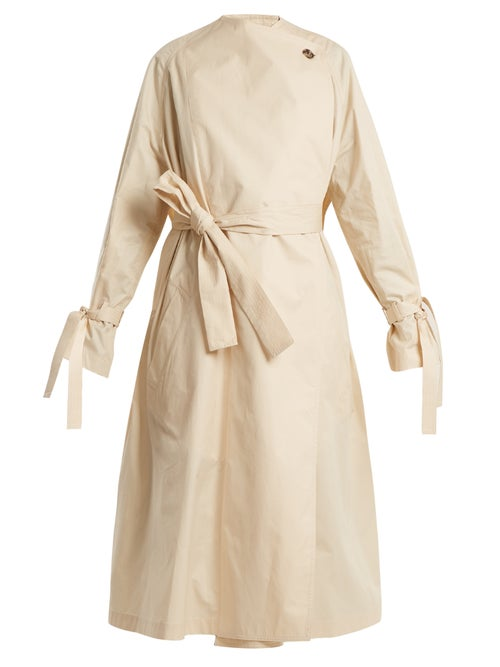 J.W. Anderson | Jw Anderson - Oversized High Neck Tie Waist Cotton Trench Coat - Womens - Cream | Clouty