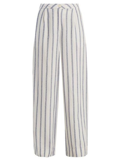 Thierry Colson   Thierry Colson - Biarritz Spugna Wide-leg Striped Trousers - Womens - Blue   Clouty
