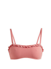Solid & Striped - The Leslie Striped Bandeau Bikini Top - Womens - Red