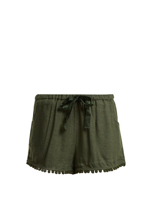 Figue | Figue - Maja Tassel Hem Silk Blend Shorts - Womens - Khaki | Clouty