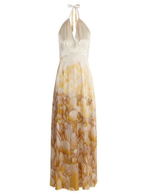 Adriana Iglesias | Adriana Iglesias - Camille Floral Print Halterneck Stretch Silk Gown - Womens - White Gold | Clouty