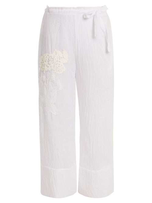Lila Eugenie | Lila Eugenie - 1834 Lace-panel Cropped Voile Trousers - Womens - White | Clouty