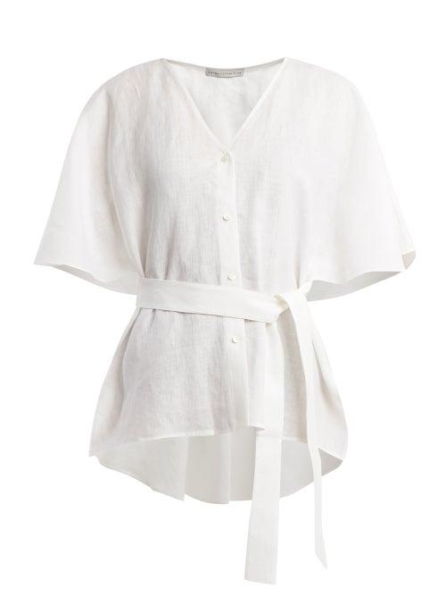 Palmer/harding   Palmer//harding - Tie Waist Linen Top - Womens - White   Clouty