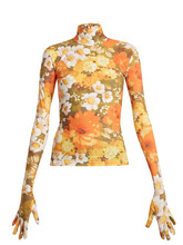 Richard Quinn - Floral Print High Neck Top - Womens - Orange Print