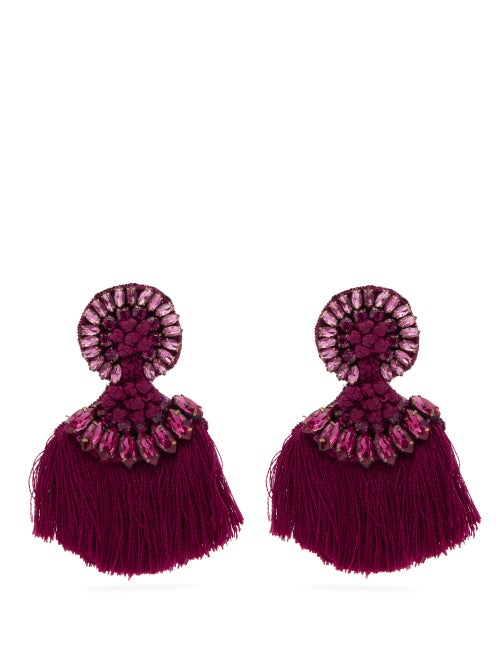 Etro | Etro - Crystal Embellished Fringed Clip Earrings - Womens - Pink | Clouty
