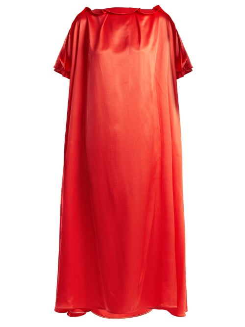 Roksanda | Roksanda - Emore Ruffle Trimmed Satin Dress - Womens - Red | Clouty