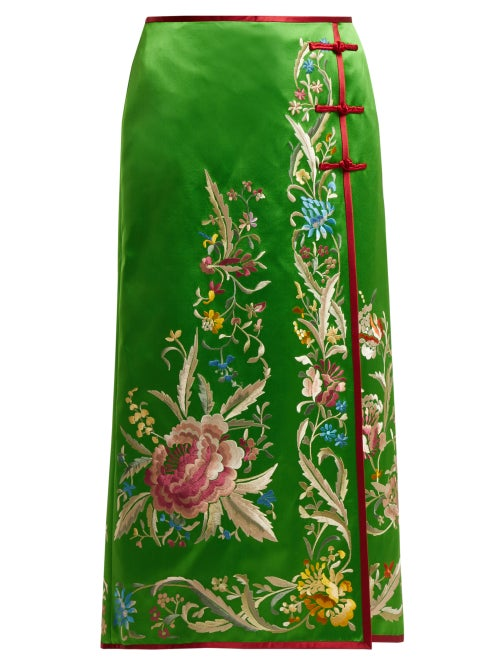 GUCCI | Gucci - Floral Embroidered Silk Satin Skirt - Womens - Green | Clouty