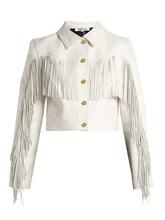 Фото Diane Von Furstenberg - Cropped Fringed Leather Biker Jacket - Womens - White