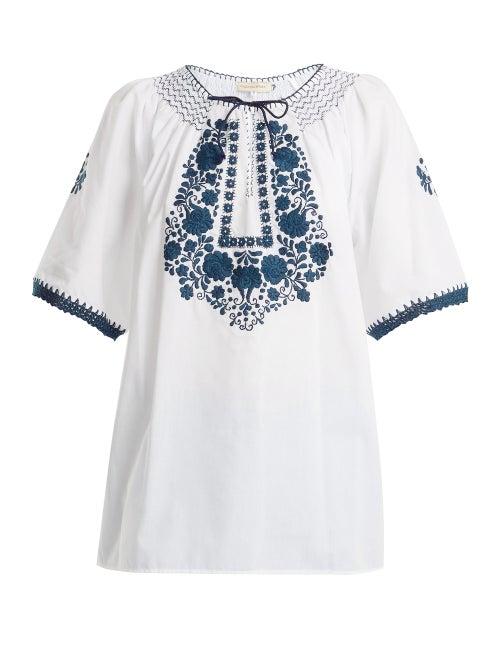 Muzungu Sisters | Muzungu Sisters - Eva Embroidered Cotton Top - Womens - White Navy | Clouty