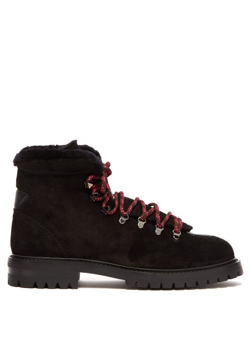 VALENTINO | Valentino - Rockstud Embellished Suede Hiking Boots - Womens - Black | Clouty