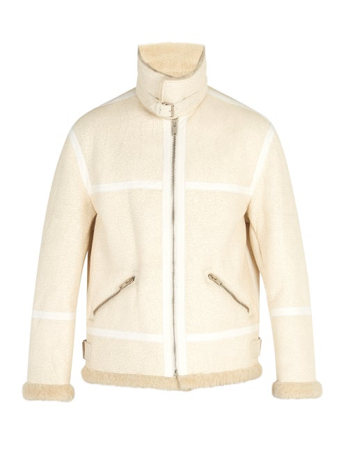 GIVENCHY | Givenchy - Distressed Shearling Coat - Mens - Cream | Clouty